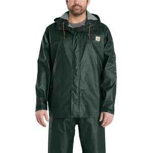Dark green rain coat