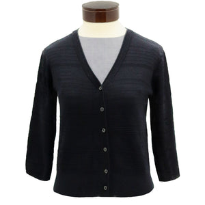 Women's black button-down sweater moonlight silk