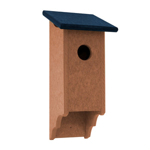 Navy roof and cedar birdhouse