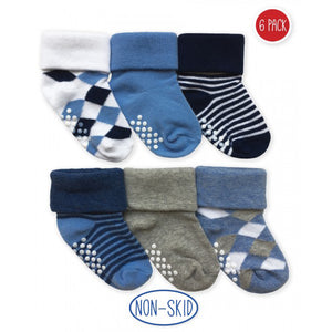 Blue, white, and gray baby socks