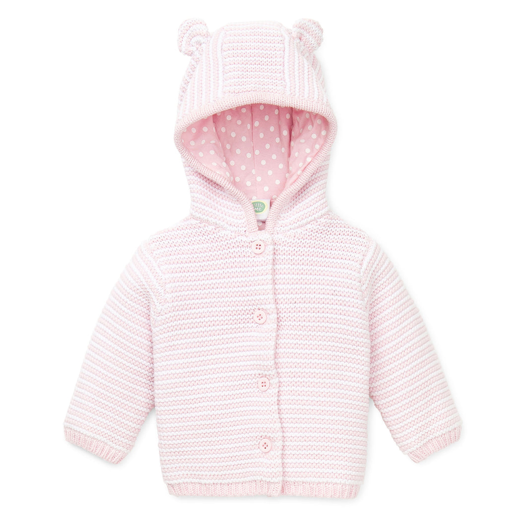 Pink and white hooded sweater