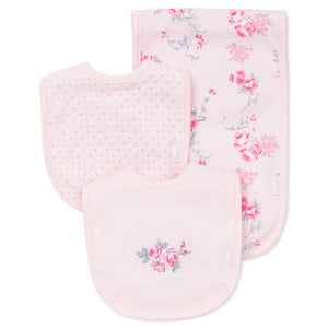 Pink floral bibs and burp cloth