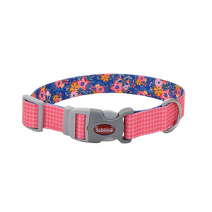 Pink houndstooth dog collar