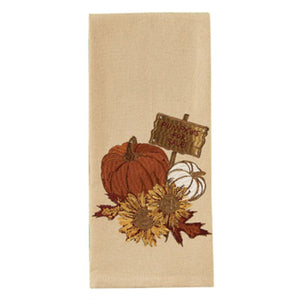 pumpkins & sunflowers decorative kitchen dish towel park designs