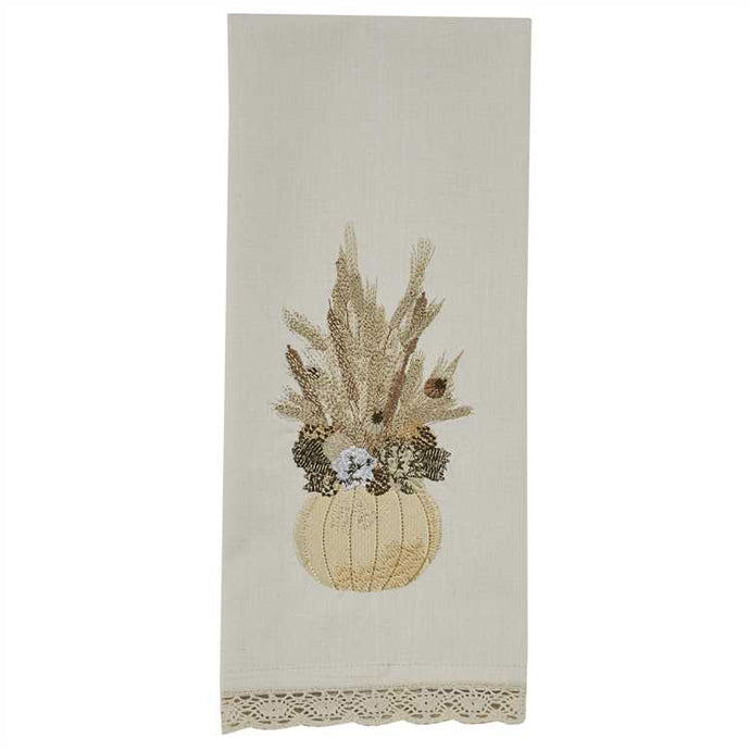pumpkin & wheat decorative kitchen towel with lace Park Designs