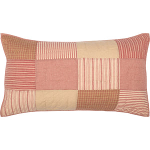 King-sized red patchwork pillow sham