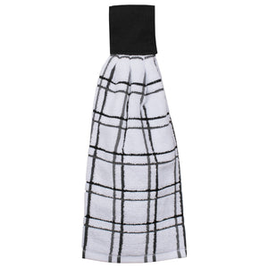multi check tie towel black