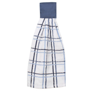 multi check tie towel federal blue