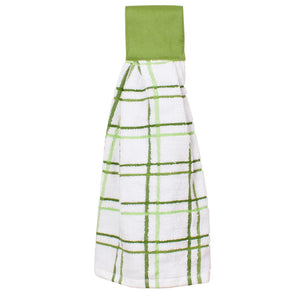 multi check tie towel cactus green