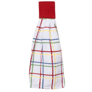 multi check tie towel paprika red