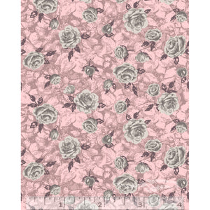 Salmon dress fabric with roses