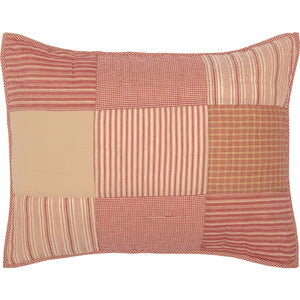 Red patchwork pillow sham