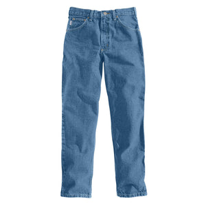 Stonewashed Carhartt men's blue jeans, front.