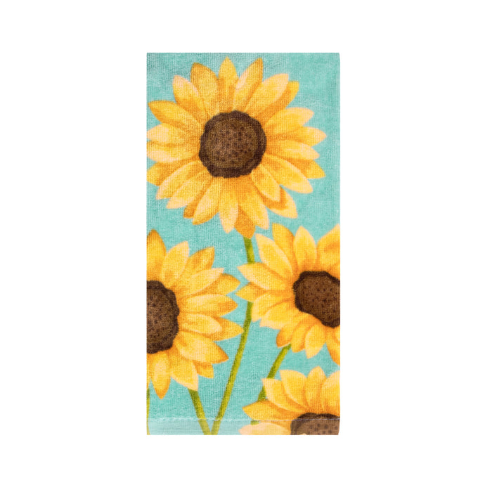 Dish towel with sunflowers print