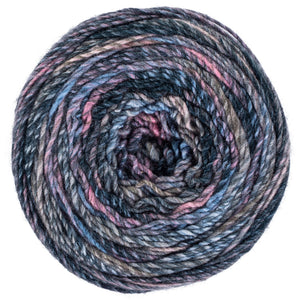 Tabloid gray, blue, and pink yarn
