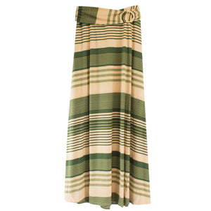 olive khaki strip o-ring maxi skirt womens