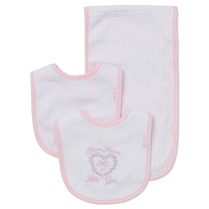 Thank Heave for Little Girls bibs and burp cloth