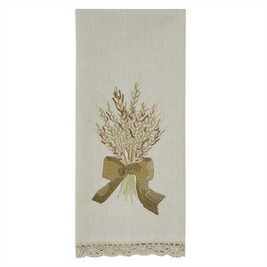 heads of wheat bouquet & bow decorative kitchen towel with lace Park designs