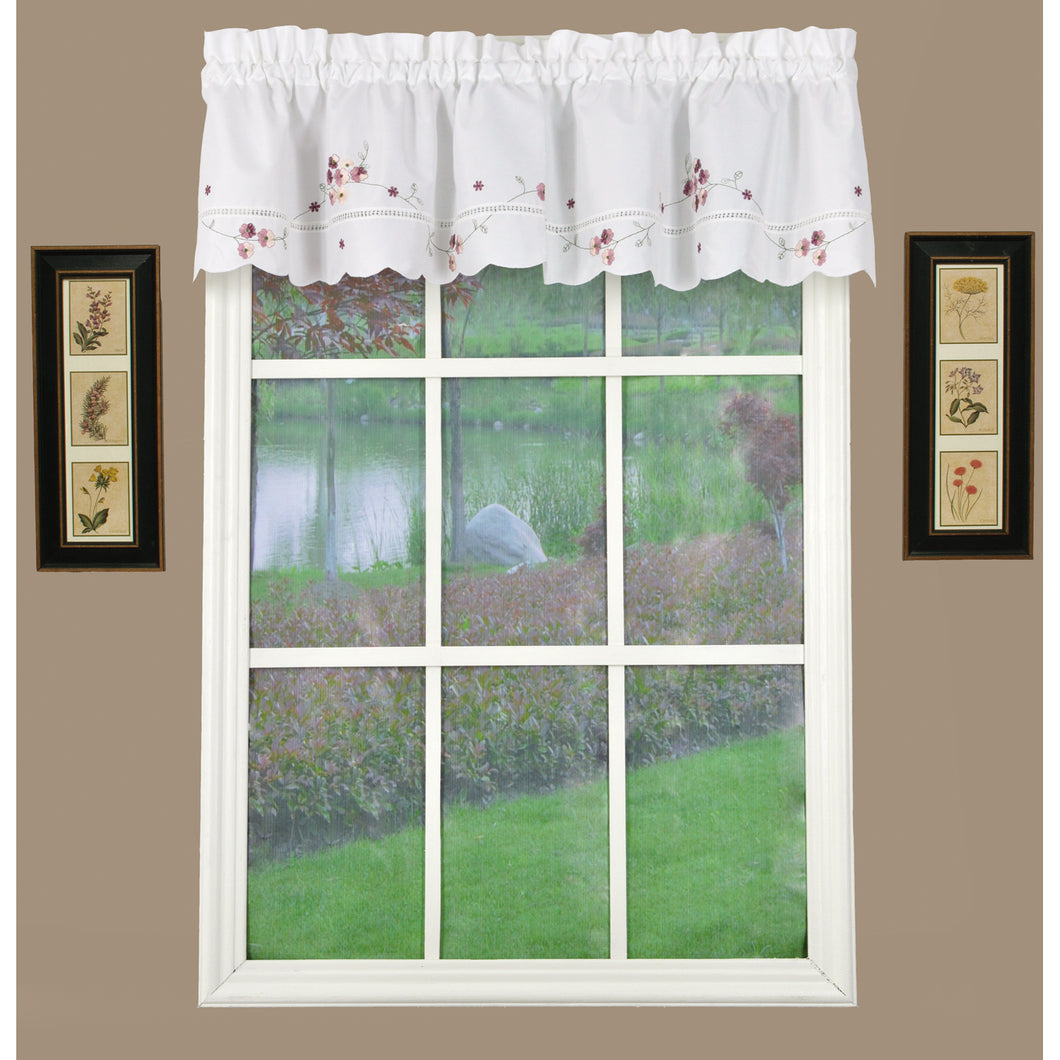 Curtain valance white with rose flowers