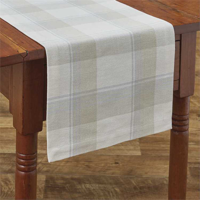 white & wheat plaid table runner 13x36