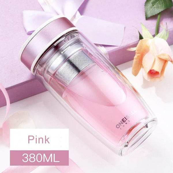 Double Glass Water Bottle Brief Leak Proof Bottle For Water With Stainless Steel Tea Filter Drink