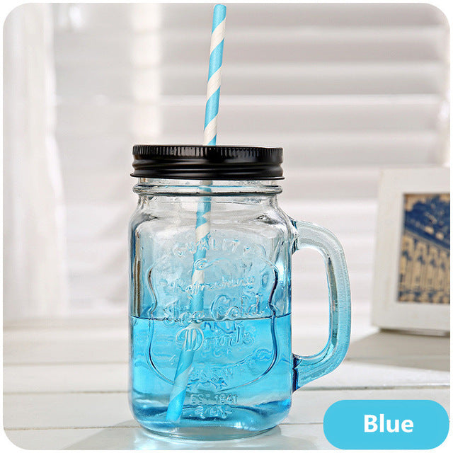 Drink Cups Fruit Mason Jar Bottles Drink Infusion Colored Bar Coffee Water Cup Glass Bottle with Handle