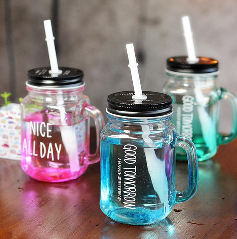 Glass Mason Jar Cup Fruit Ice Cream Infusion Clear Gradients Personality Cold Drink Cups