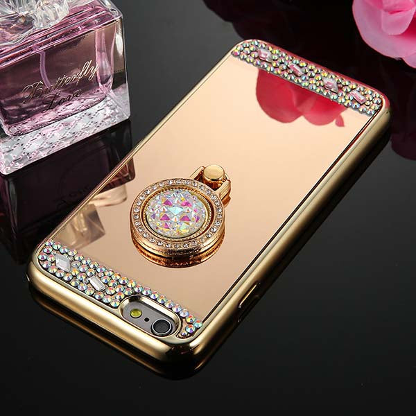 Crystal Rhinestone Glitter Mirror Case For iphone 5 5s SE 6 6s 7 Plus CoverRing Holder Stand