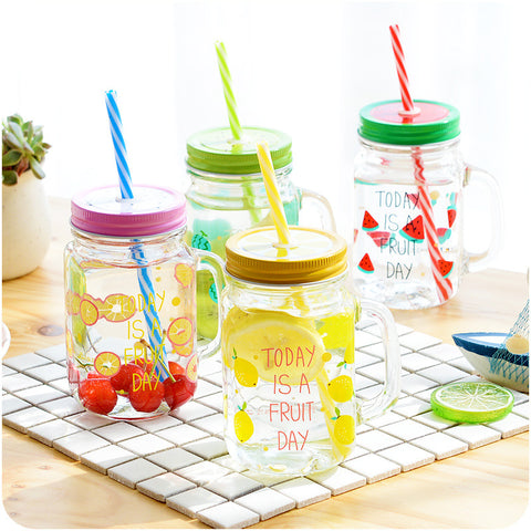 Glass Mason Jar Cup Fruit Ice Cream Infusion Clear Drink Glass Cups With Straw
