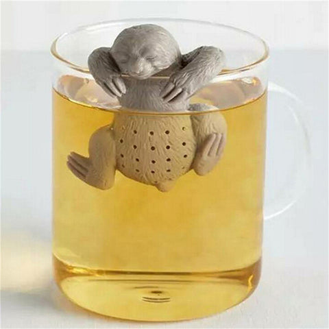 Gray Cartoon Lazy Sloth Tea Infuser Black Tea Strainers Silicone Loose Leaf Herbal Spice Holder