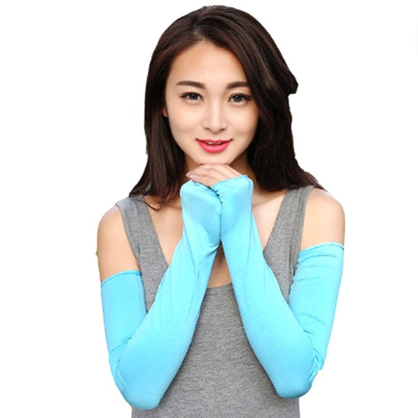 Women Sunscreen Arm Warmer Half Finger Cotton Long Fingerless Gloves Cuff Sun Hand Protection Anti-UV Simple Design
