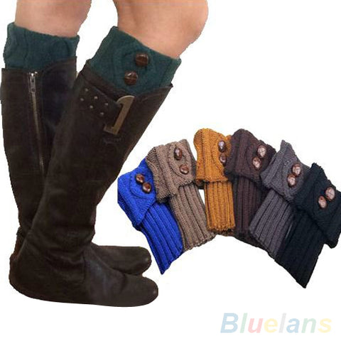 2017 Top QualityWomen Winter Leg Warmers Socks Button Crochet Knit Boot Socks Toppers Cuffs 22L6 7NLW Cotton Happy Funny Socks