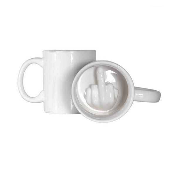 White Middle Finger Style Novelty Mixing Coffee Milk Cup Funny Ceramic Mug