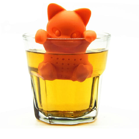 Cartoon Cat Shaped Tea Infuser Tea Strainer Silicone Loose Leaf Herbal Spice Brewing Tool