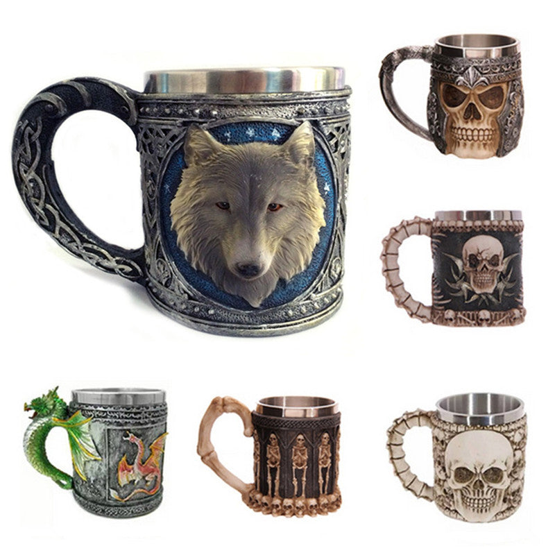 Tea Coffee Cup Skull Wolf Mug Resin Stainless Steel Pirate Knight Drinking Grip Drinkware