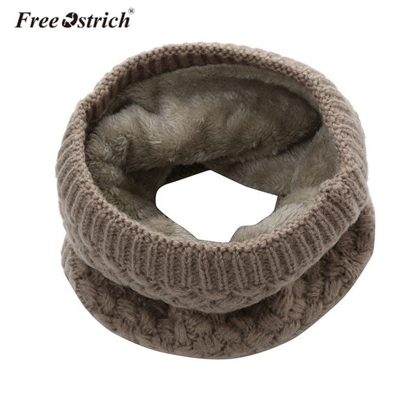 Free Ostrich Winter Knitted Scarf Women Men Pure Color Velvet Thick Warm Ring Scarves Lady Cowl Collar Circle Wraps D20