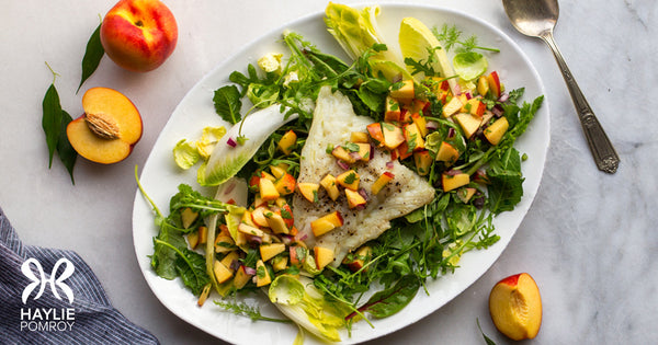 Broiled Cod with Nectarine Salsa Over Mixed Greens