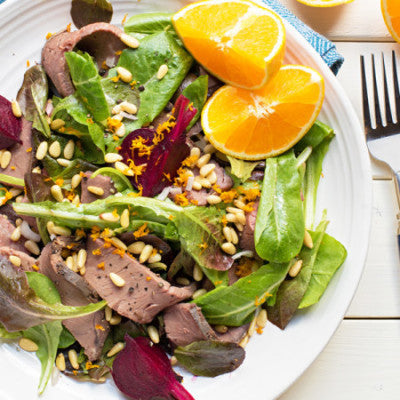 Roast Beef, Beet and Romaine Salad with Orange Vinaigrette