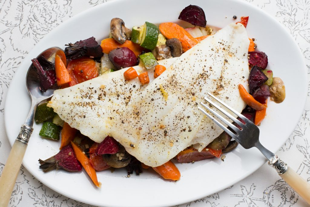 Dover Sole With Roasted Veggies