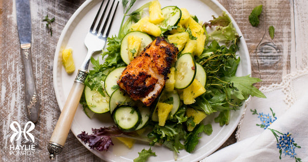 Pineapple-Cucumber Salad with Sea Bass
