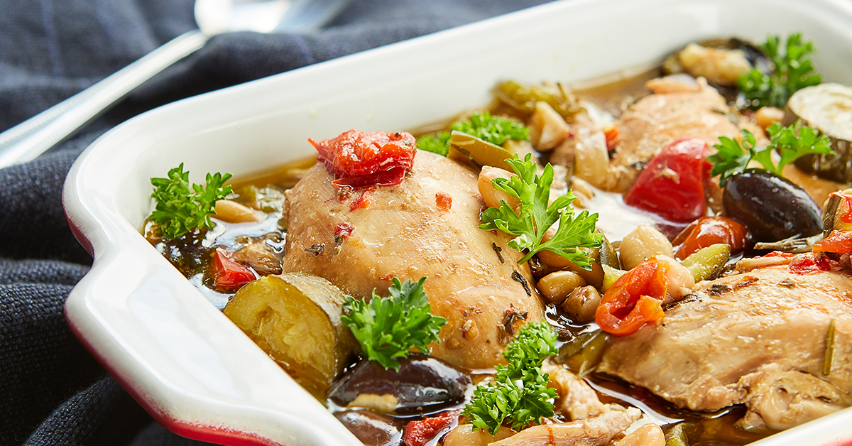Close up of slow cooker roasted Mediterranean chicken