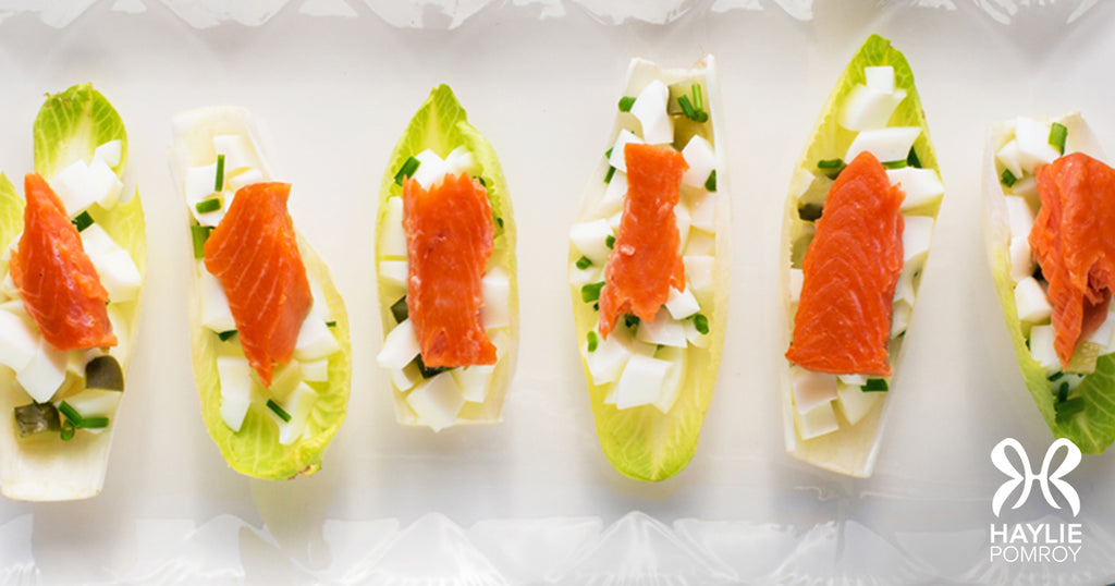 Smoked Salmon and Eggs in Endive
