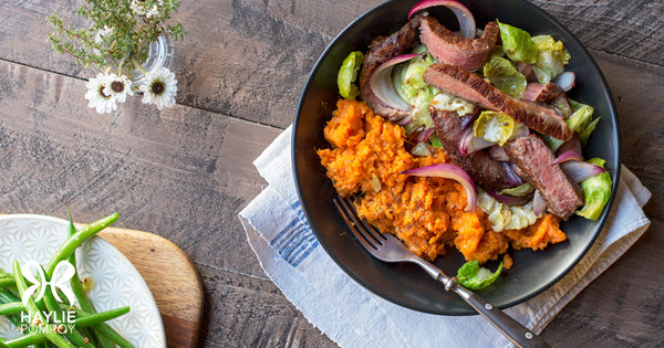 Steak and Cabbage Sauté with Sweet Potato Mash