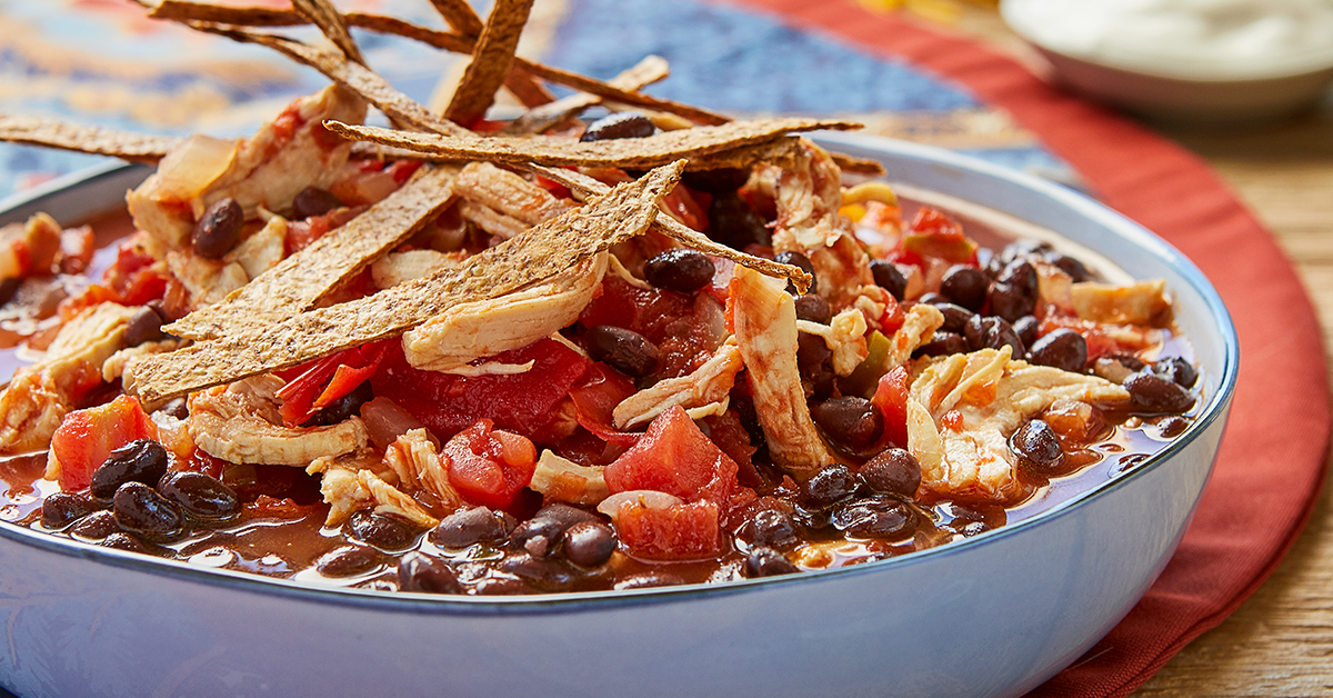 Tortilla Soup with Black Beans and Chicken