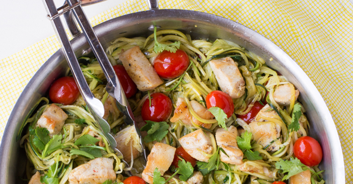 Close up of Zucchini Noodles with Cilantro and Lime Chicken
