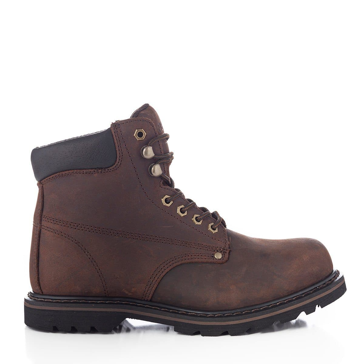 """TANK S"" 6 inch Steel Toe Durable Work Boots Darkbrown - Rubber Outsole - For Construction"