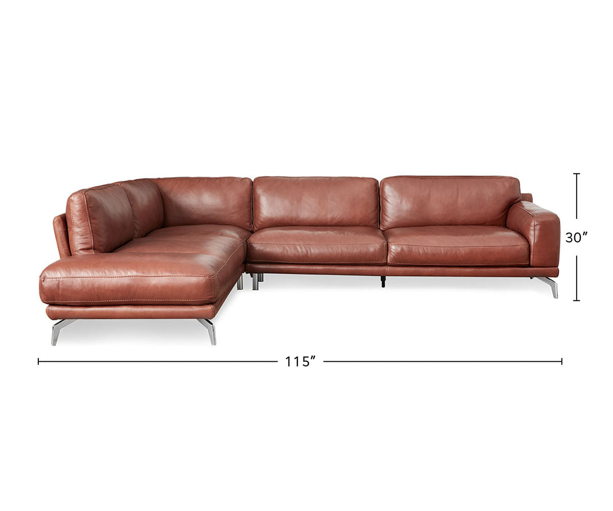 Peruna Leather Left Sectional dimensions