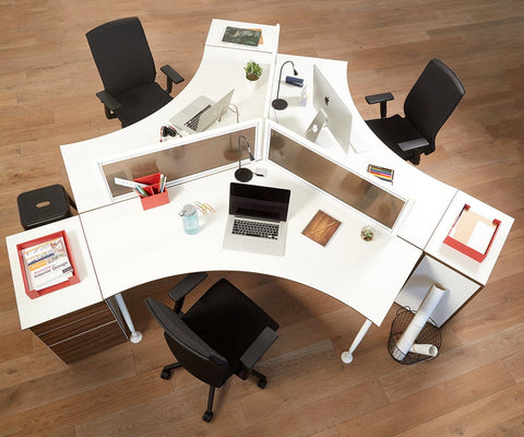 Sparsa 120-Degree Workstation White/Walnut - Scandinavian Designs
