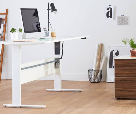 Network 59 Sit Stand Desk - White WHITE - Scandinavian Designs