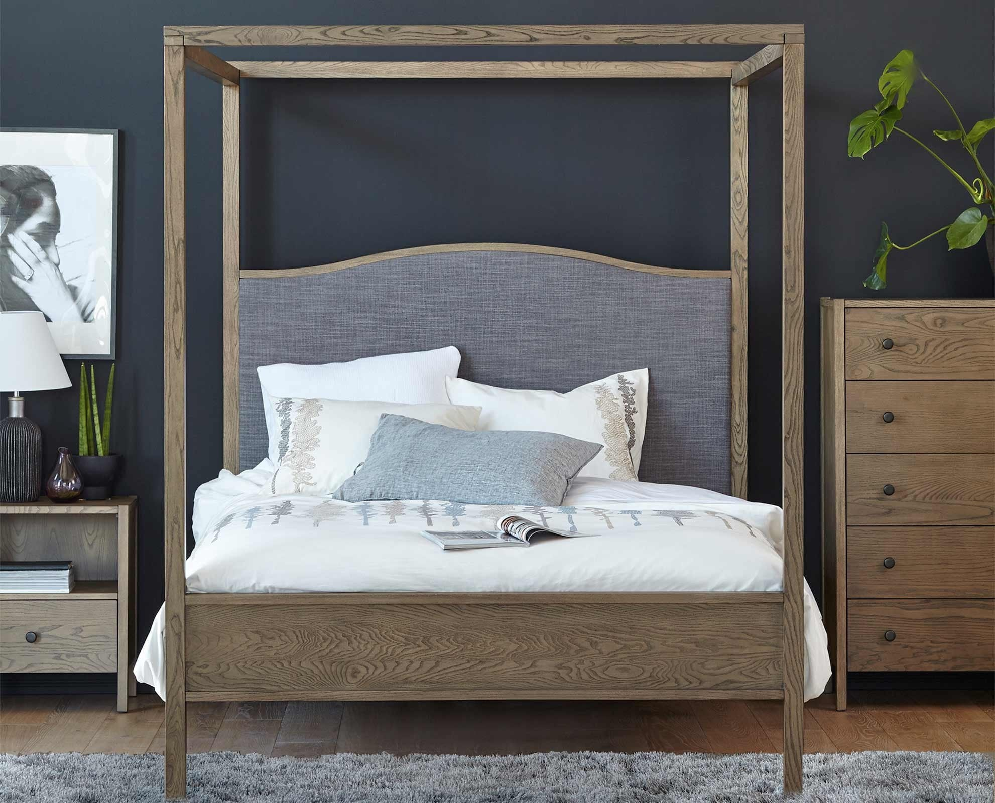 Modern upholstered nordic style canopy bed neutral design